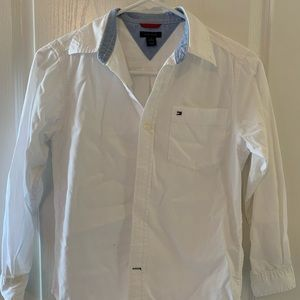 Hilfiger boys white button down shirt